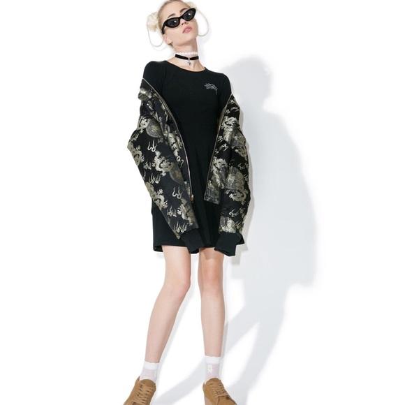 Stussy   Black Love Dress Long Sleeve Chic